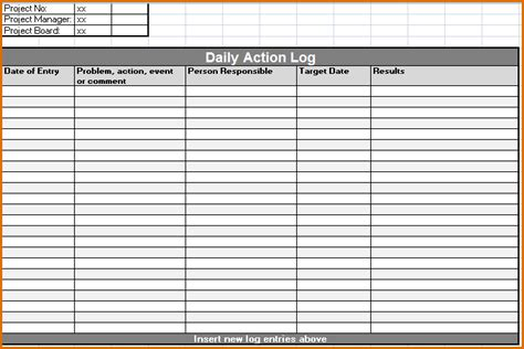 8 Daily Activity Log Template Authorizationletters Org Daily Activity Log Template