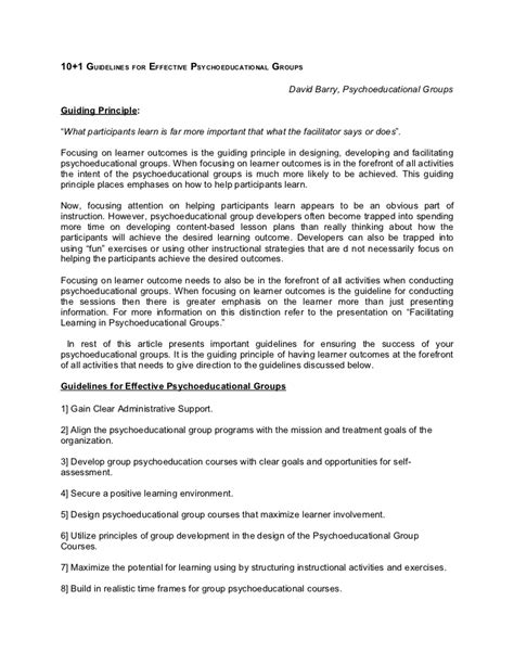 psychoeducational report template 1 10 guidelines for effective psychoeducational groups