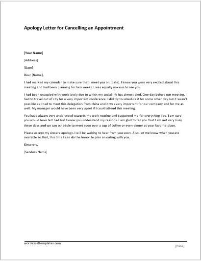apology letter for cancellation of apology letter templates for word word excel templates