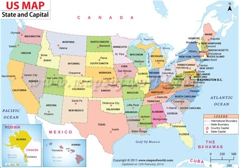 map of united states showing state capitals us map shows the 50 states boundary their capital cities