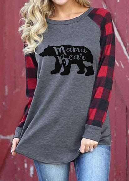 mama bear plaid  neck  shirt fairyseason