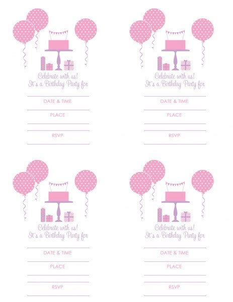 birthday party ideas for girls free printables
