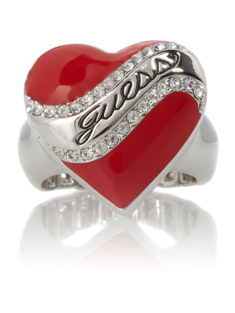 guess stretch ring in silver lyst