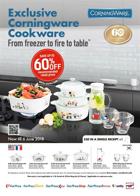kitchen collection coupon 2018 redeem corningware limited edition cookware with snoopy prints at fairprice from now till june 6