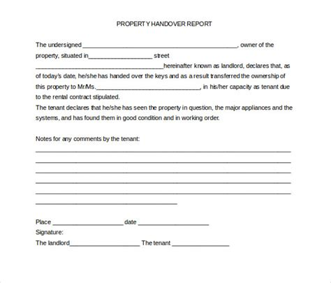 handover certificate template handover report template 15 free word pdf documents