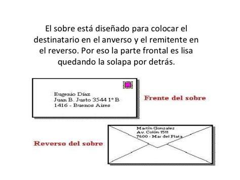 como poner la direccion en un sobre los sobres y la correspondencia comercial
