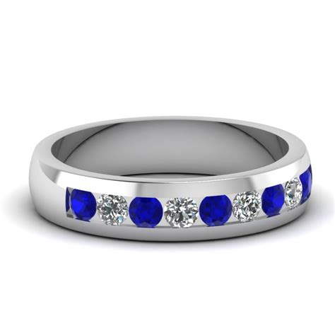 white gold blue sapphire mens wedding ring with