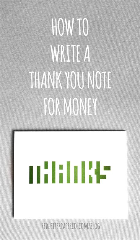 how to write a thank you note for money paper money and
