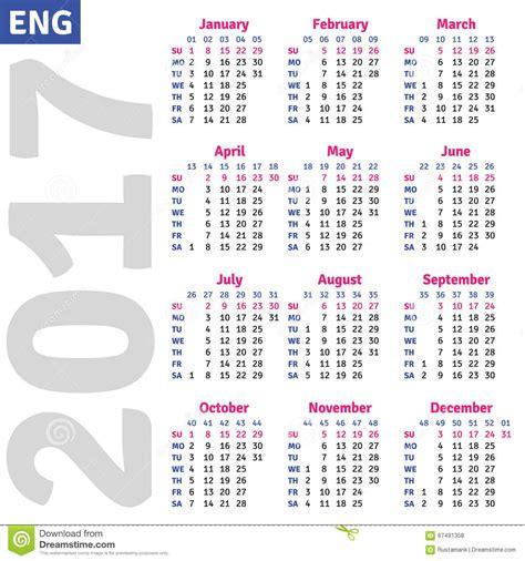 Calendario 2017 Ingles Calendario Ingl 233 S 2017 Ilustraci 243 N Vector Imagen
