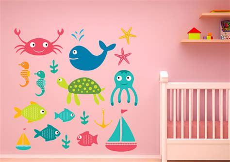 childrens wall stickers sea set childrens printed wall sticker