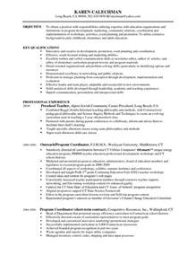 program coordinator resume resume cover letter exle