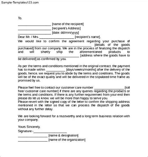 Sle Letter For Contract Sale Agreement Letter Template Sle Templates