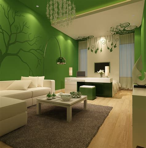 Wall Paint Ideas For Living Room Apartments Contemporary Living Room Design Ideas With White Sectional Sofa And Green Wall Color