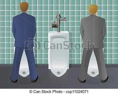 standing in line for the bathroom vectors illustration of men using urinal two men