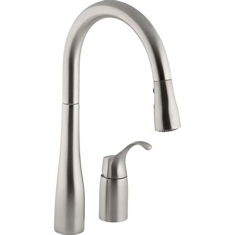 Kohler Kitchen Sink Faucet Kohler K 647 Vs Simplice Vibrant Stainless Steel Pullout Spray Kitchen Faucets Efaucets