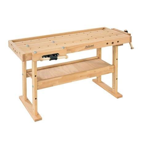solid wood work bench husky 46 in 9 drawer mobile workbench with solid wood top