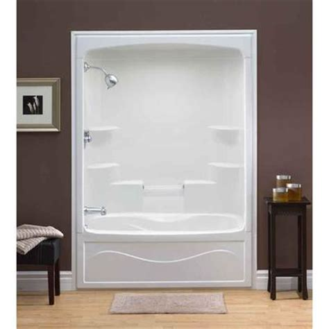 bathtub shower combo home depot mirolin liberty 60 inch 1 piece acrylic tub and shower