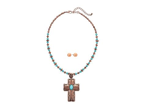 m f western copper turquoise beaded cross necklace