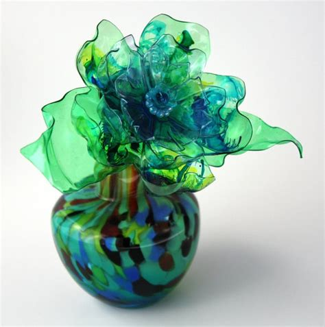 teal green flower vase gift aqua blue lime green royal