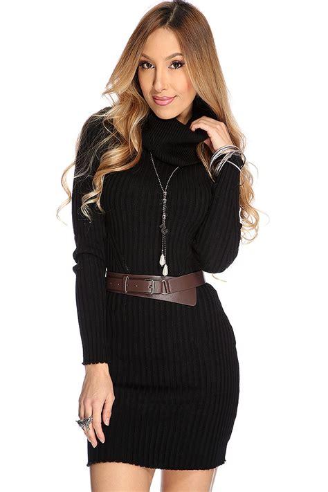 Sweater Amerika 23 Black black ribbed cowl neck sweater dress