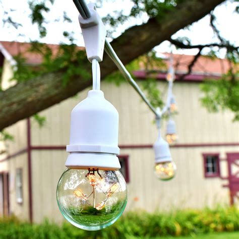 Patio Light Strands White Outdoor String Lights G16 Globe Light Bulbs