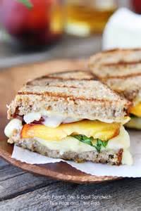 grilled peach brie basil sandwich recipe on twopeasandtheirpod com a simple summer sandwich