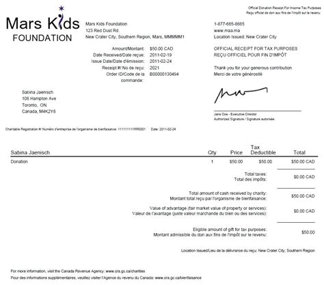 charitable receipt template canada tax receipts canada exle a for a donation of complete