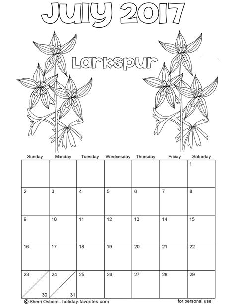 printable calendar coloring pages 2017 printable july 2017 calendars holiday favorites