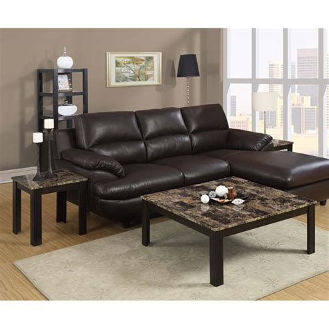 Marble Top Coffee Table Sets 3 Faux Marble Top Coffee Table Set In Cappuccino I 7986p