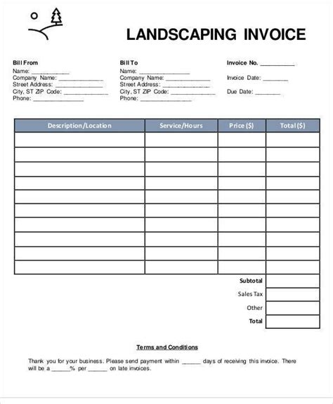 landscaping invoice template free printable