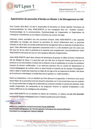 Lettre De Recommandation Iae Julien Rosette Cv Consultant En Management De L