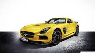 yellow sports car carbon fiber mercedes sls amg black
