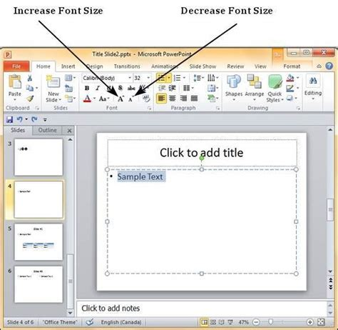 Change Text Size In Powerpoint 2010