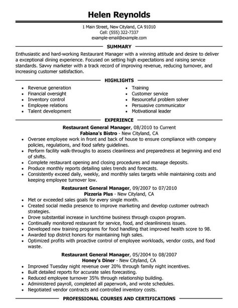 Restaurant Resume by Best Restaurant Manager Resume Exle Livecareer