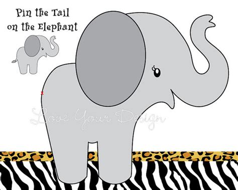 printable version of pin the tail on the donkey elephant game for birthday party pin the tail on the