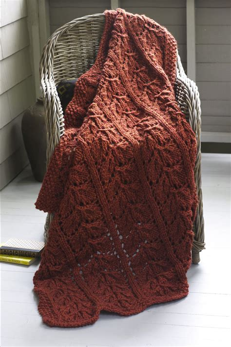 wool knitting patterns autumn leaves afghan in brand wool ease thick