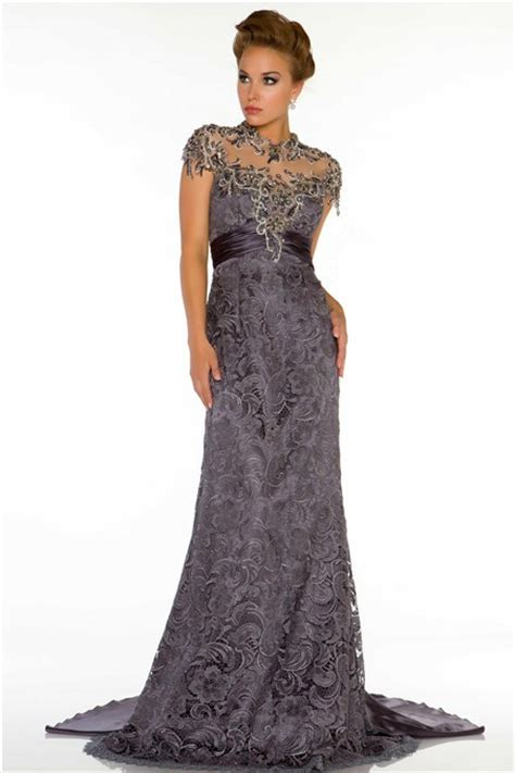 beaded evening dress high neck cap sleeve backless charcoal grey lace