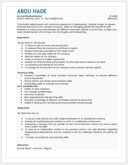 Bookkeeping Resume by Accounting Bookkeeping Resume Contents Layouts