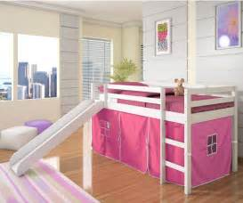 Loft Bed For Girls Low Loft Bed With Pink Tent Amp Slide White Bedroom