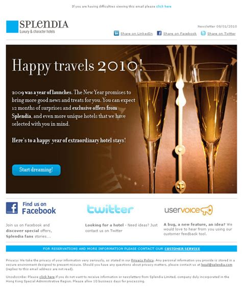 email inspiration splendia new years email email design