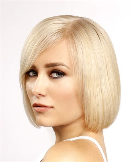 hairstyles with light bangs short straight formal bob hairstyle with side swept bangs
