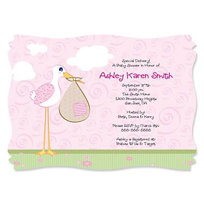 stork baby personalized baby shower invitations