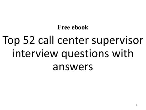 top 10 call center supervisor questions and answers