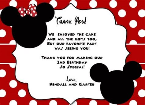 Mickey Mouse Thank You Card Template by Printables Mickey Mouse Invitation Card