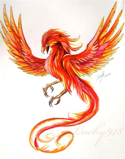 colorful flying angry phoenix tattoo design
