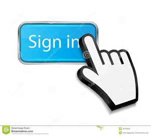 Sign In Mouse Hand Cursor On Sign In Button Vector Royalty Free
