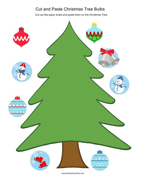 cut and paste christmas tree bulbs kiddie crafts
