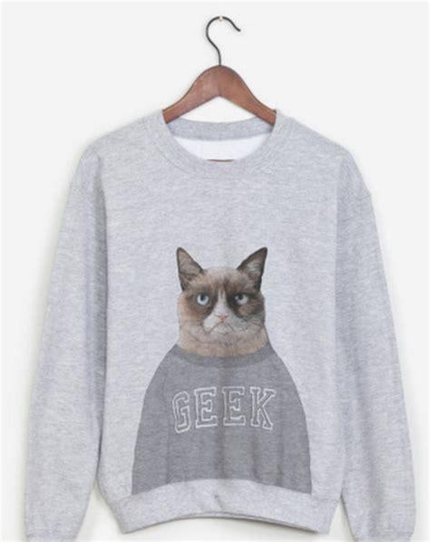 Sweater Grey Cat sweater sweatshirt grey sweater grumpy cat cats