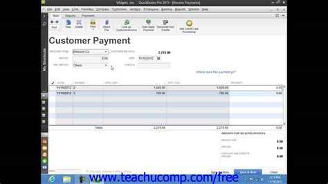 tutorial quickbooks pro quickbooks pro 2013 tutorial applying one payment to
