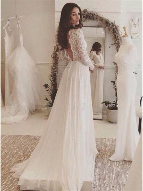 neck long sleeves simple wedding dress  lace